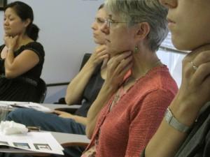 Participants Practice Circumlaryngeal Massage