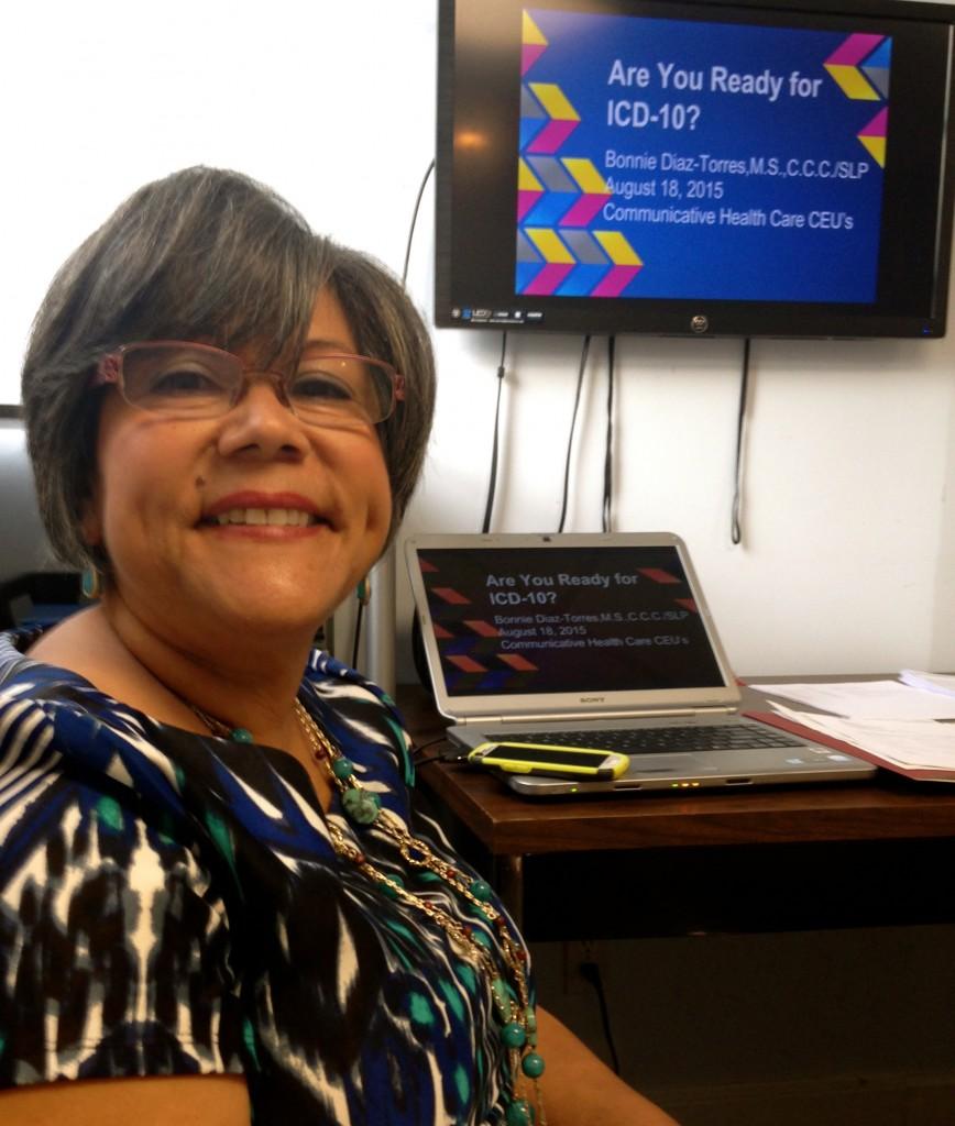 Bonnie Diaz-Torres, M.S., CCC-SLP, a bilingual speech-language pathologist and feeding specialist, presents on new billing codes for speech language pathologist